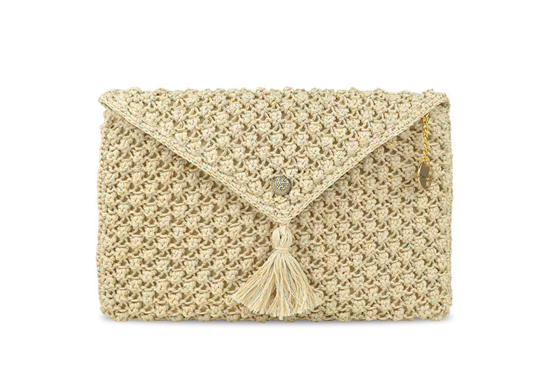 Jewel & Tassel Envelop Sparkly Cream